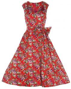 930cb4a5421 Lindy Bop  Grace  Vintage 1950 s Floral Print Swing Dress  Amazon.co.