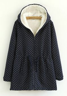 Navy Blue Floral Drawstring Cotton Blend Padded Coat