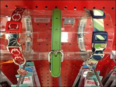 I run out of descriptors to define some creative fixtures. This first calls to mind a Bracelet Hump for displaying jewelry. But it finds use in Pet Supplies displaying collars for Fiddo and FeeFee. Pet Collars, Jewellery Display, Pet Supplies, Bracelet, Pets, Families, Dog, Creative, Jewelry