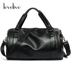 7448a7d13827 LEVELIVE High Quality Leather Men Travel Bag Large Capacity Men s Handbag  Male Shoulder Messenger Bag Fashion