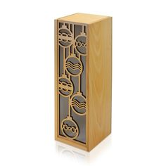 Holiday Christmas Ornaments Laser Cut Wooden Wine Box