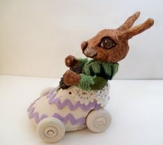 Easter Bunny Peter Rabbit with Spring Ride Folk Art by llacarve, $35.00