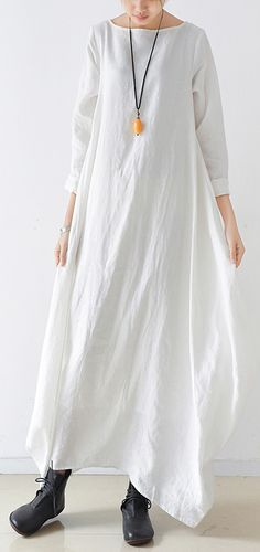 2bdf3ce5f7 Loose o neck asymmetric linen Soft Surroundings Sewing white loose Dresses.  Omychic Linen Dress