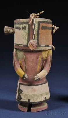 Southwest Polychrome Carved Wood Kachina, Hopi, c. early 20th century, with…