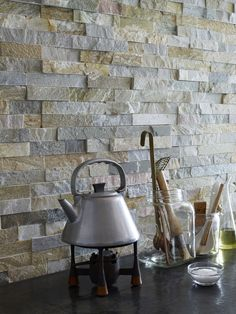 All Time Best Cool Ideas: Pearl Arabesque Backsplash marble backsplash love.Stainless Steel Backsplash Panel backsplash behind stove grout. Splashback Tiles, Stone Backsplash, Herringbone Backsplash, Stone Tiles, Hexagon Backsplash, Copper Backsplash, Slate Stone, Slate Wall Tiles, Kitchen Wall Tiles