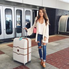 Delsey luggage, similar here // white double layer tank // ripped jeans (sold out) // Show Me Your Mumu cardigan // m.Gemi lace-up flats