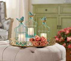 Don't let your decor leave you feeling caged in. Add these bright illuminated birdcages to the mix and take the ambience to new heights. Valerie Parr Hill, Ceramic Birds, Silk Flower Arrangements, Red Accents, Votive Candles, Bird Cage, Decor Crafts, Indoor Outdoor, Table Decorations