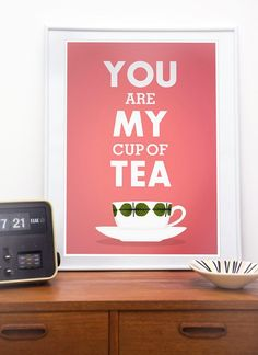 Kitchen Tea print, love quote art, pink decor, retro design, stig lindberg - You are my cup of tea A4 or 8x10. $17.00, via Etsy.