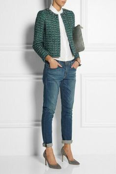 Lovely Winter Office Outfits With Jeans - Mode - Jackets Mode Outfits, Jean Outfits, Casual Outfits, J Crew Outfits, Casual Blazer, Casual Jeans, Fall Outfits, Outfit Jeans, Boyfriend Jeans Outfit