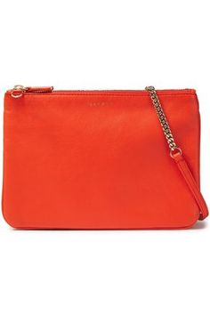 SANDRO Chain-trimmed leather pouch. #sandro Orange Clutches, Leather Pouch, Sandro, World Of Fashion, Gold Hardware, Luxury Branding, Shoulder Strap, Card Holder, Zip