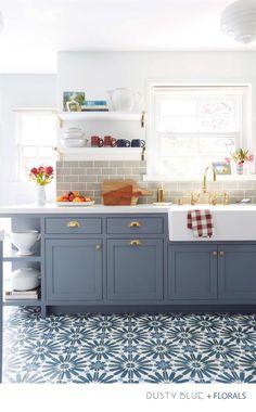 Dusty Blue, Florals and Brass - Interior Design Kitchen