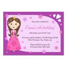 "Pretty princess pink purple cute girly birthday 4.5"" x 6.25"" invitation card"