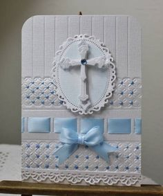 beautiful...blue & white...layered die cut cross...Perfect Pearl accents...