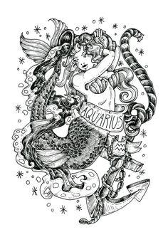 Zodiac Series: AQUARIUS by BirdBlackEmporium on Etsy