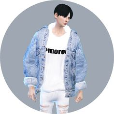 SIMS4 Marigold: Vintage Denim Jacket acc for male • Sims 4 Downloads
