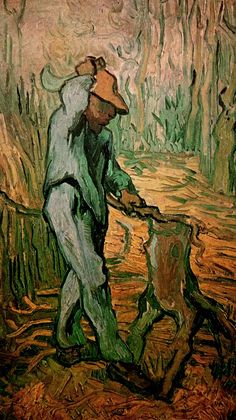 The Woodcutter after Millet - Vincent van Gogh  - Painted in February 1890 while in the Saint-Rémy Asylum - Current location: Van Gogh Museum, Amsterdam, Netherlands ...............#GT