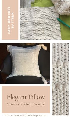 Crochet an easy elegant pillow cover in a weekend Bobble Crochet, Crochet Pillow, Crochet Stitches, Free Crochet, Crochet Home, Crochet Gifts, Origami, Art And Craft, Simply Crochet