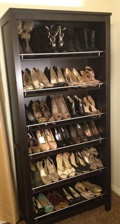 Bookshelf for shoe display... I did this and put the bookshelf in my hall closet. No more searching the pile on the floor of the closet under my clothes!