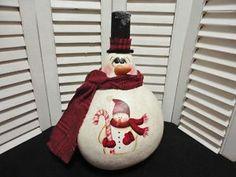 winter gourds | Handpainted Christmas Winter Snowman Doll Gourd | eBay