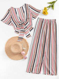 Knot Front Striped Top With Pant -SheIn(Sheinside) Cute Comfy Outfits, Cute Girl Outfits, Teenage Outfits, Trendy Outfits, Girls Fashion Clothes, Teen Fashion Outfits, Ladies Fashion, Fashion 2017, Simple Summer Outfits