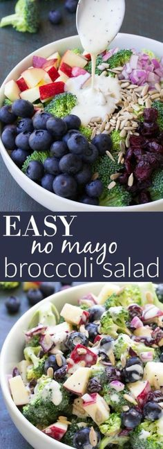 Best Ever No Mayo Broccoli Salad with Blueberries and Apple! This healthy and easy side dish has a creamy poppy seed dressing, cranberries, and sunflower seeds. It will be the hit of your summer BBQ o (Paleo Apple Recipes) Clean Eating Recipes, Cooking Recipes, Cooking Pork, Cooking Salmon, Eating Clean, Healthy Snacks, Healthy Eating, Healthy Mayo, Vegan Mayo