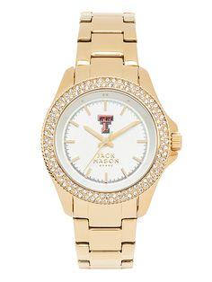 Texas Tech Red Raiders Women's Gold-Tone Glitz Sport Bracelet Watch
