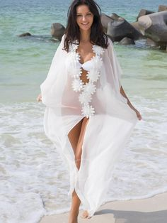 #NewYear #TBDress - #TBDress See-Through Chiffon Appliques Long Cover-Up - AdoreWe.com
