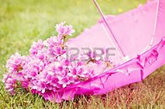 Pink umbrella with f