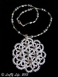 Tatting Lace Verbena  Silver Color Pendant With Pearls by LacyLife, $53.00