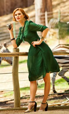 "My ""A safari you say?  Why yes, I'd love to go on a safari in this very stylish emerald green wonder of a dress"" dress"