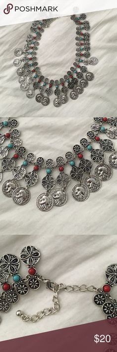 Silver and turquoise coin necklace Never worn! Perfect, shiny condition! Jewelry Necklaces