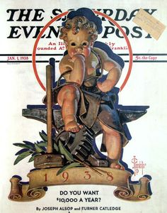 Vintage Magazine - Saturday Evening Post  1938 New Year's Baby // J.C. Leyendecker