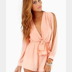 TOBI Calypso Romper Peach romper with toe front detail and slit sleeves. Worn once. Perfect condition Tobi Dresses Mini