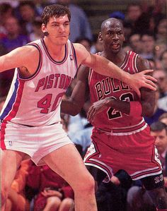 onlythebestnba: 1990-91 Michael Jordan Takes on one of Detroits Bad Boys, Bill Laimbeer