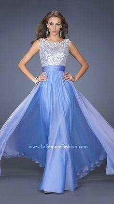 A classic chiffon prom dress by La Femme.