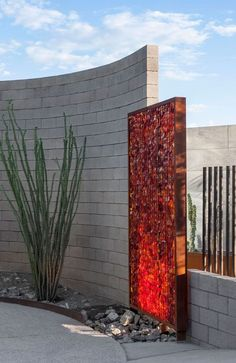 Image result for retaining wall red slag glass