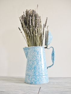 Vintage Enamelware Blue and White Coffee Tea Pot by CocoAndBear, $32.00