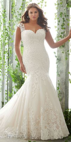 a5537653b578 Luxury Tulle Sweetheart Neckline Mermaid Plus Size Wedding Dresses With Lace  Appliques Plus Size Wedding,
