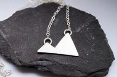 Two Little Mountains Sterling Silver Necklace ~ modern, geometric, triangle, pendant by CuriousOwlShop on Etsy https://www.etsy.com/uk/listing/256426601/two-little-mountains-sterling-silver