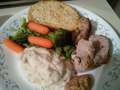 Mustard Crusted Pork Tenderloin, mashed potatoes and steamed veggies. I got this recipe from the Kroger coupon book today.