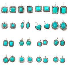 Retro Women Tibetan Silver Green Turquoise Stone Hook Earrings Fashion Jewelry #Unbranded