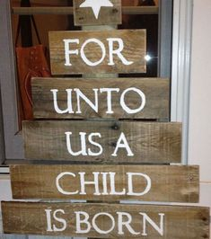 Homemade DIY Christmas Signs & Decor Ideas - A Child is Born - Click Pic for 18 DIY Christmas Crafts for Family