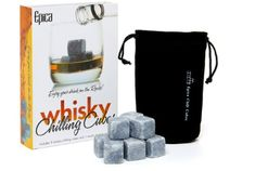 Whisky Chilling rocks - SET OF 9 Beautifully Handcrafted Soapstone Whisky Chilling Rocks in Gift Box with Muslin Carrying Pouch .