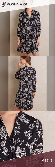 """Anthropologic floral print tunic dress Anthropologie tunic dress by Allison New York. Size small. NWT. Black with white floral print. Polyester; polyester lining Back zip 35.5"""" long Anthropologie Dresses Mini"""