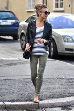 Army green pants, striped shirt, leather jacket, animal print flats