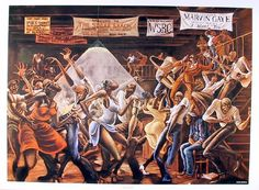 """""""Sugar Shack"""" by Ernie Barnes (1971) known as the album cover for Marvin Gaye's I Want You album"""