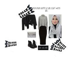 """#HOTDalls #hijabinstan #hijabstyle #fashion #monocrome"" by shintaokta on Polyvore featuring Warehouse, Designers Remix, Phase Eight and Donna Karan"