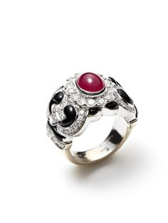 Onyx, Diamond, & Ruby Floral Swirl Ring by Piranesi on Gilt.com