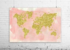 World Map Art Print Poster Pastel Nursery Decor Pink Coral And - Pink world map poster
