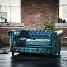 Wallace Sacks Green Leather Tilda Chesterfield Two Seater Sofa